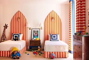 Contemporary Kids Bedroom with orange and white stripes fabric, Victor Mill Latitude Navy Square Pillow, paddington bear