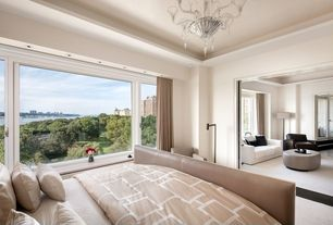 Contemporary Master Bedroom with Paint 1, Chandelier, Homeware bax ottoman, Carpet, picture window, French doors