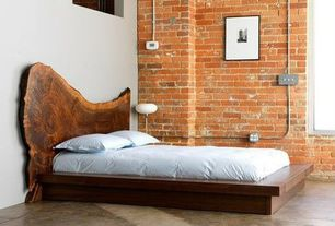 Contemporary Master Bedroom with Saucer Floor Lamp, SQB Bed by ARTLESS, Paint, Sawn tree plank headboard, Brick wall