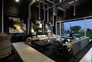 Contemporary Living Room with Paint, Salma Faux Leather Bench