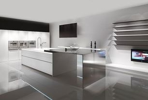 Contemporary Kitchen with One-wall, Pedini Integra Cabinets, Kitchen island, Corian counters, Flush, Undermount sink
