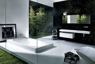 Contemporary Full Bathroom with Swing C Single Handle Dual Function Roman Tub Faucet and Hand Shower, ML Bathroom Sink