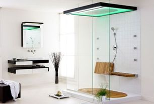 Modern 3/4 Bathroom with Fold up shower seat, MasterShower Round Bodyspray, Walk through shower, Concrete floors, Vessel sink