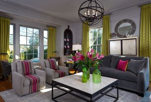Contemporary Living Room with Metal sphere lantern, Capital Lighting CPG2868 Axis 6 Light Globe Pendant, Wainscotting