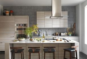 Contemporary Kitchen with High ceiling, full backsplash, One-wall, double wall oven, Silestone countertop, Flush, Island Hood