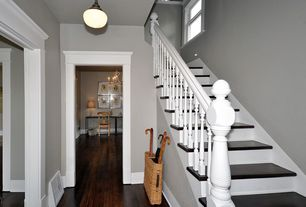 Traditional Staircase with flush light, High ceiling, Hardwood floors