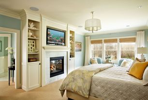 Contemporary Master Bedroom with Pendant light, Ashbury yellow duvet cover, Traditions linens louisa coverlet, Crown molding