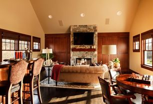 Traditional Game Room with THE PETITE KENSINGTON UPHOLSTERED SOFA, Cathedral ceiling, Dalton Lamp, Remy Floor Lamp