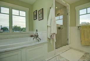 "Traditional Master Bathroom with Arizona Tile, Bianco  Carrara, Marble, Giorbello Subway 6"" x 3"" Tile in Bright White"
