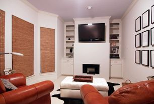 Modern Home Theater with Built-in bookshelf, can lights, Carpet, High ceiling