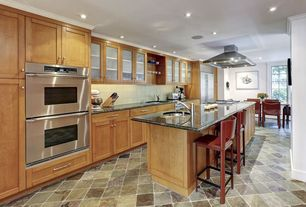 Traditional Kitchen with Undermount sink, Breakfast bar, Stone Tile, Breakfast nook, Flat panel cabinets, One-wall