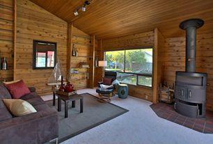 Rustic Living Room with Carpet, Built-in bookshelf, flush light