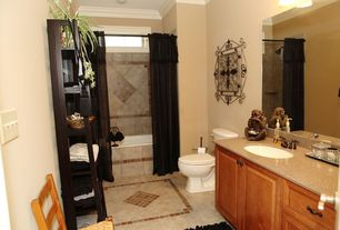Traditional Full Bathroom with Simple Granite, Inset cabinets, Undermount sink, full backsplash, picture window, Shower