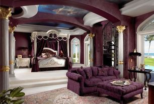 Traditional Master Bedroom with interior wallpaper, Standard height, Columns, Crown molding, Antique nightstand, Canopy bed