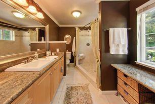 Traditional Full Bathroom with Complex Granite, Crema marfil - select polished 12x24, Master bathroom, Frameless, flush light