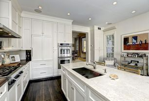 Traditional Kitchen with Simple marble counters, Kitchen island, Casement, Hardwood floors, Undermount sink, L-shaped