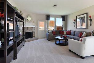 Traditional Living Room with Glass panel door, flush light, Carpet