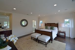 Traditional Guest Bedroom with Hardwood floors, Crown molding, French doors