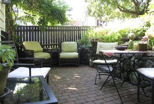 Traditional Patio with Fence, exterior brick floors