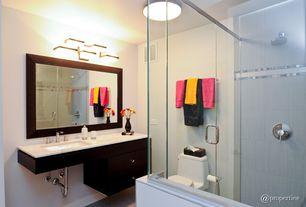Contemporary Full Bathroom with Built-in bookshelf, Undermount sink, Rain shower, flush light, Vinyl floors, Inset cabinets