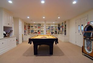 Traditional Game Room with Carpet, Built-in bookshelf