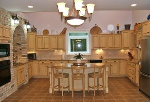 Eclectic Kitchen with Undermount sink, Progress Lighting Renovation Collection 9-Light Forged Bronze Chandelier, U-shaped