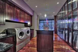 Contemporary Laundry Room with Pendant light, High ceiling, Laminate floors, French doors