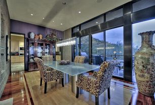 Eclectic Dining Room with picture window, can lights, Pendant light, sliding glass door, Laminate floors, High ceiling