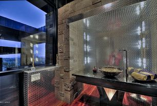 Contemporary Powder Room with full backsplash, Skylight, Powder room, picture window, Wall sconce, Vessel sink