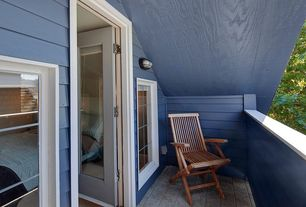 Craftsman Deck with exterior stone floors, French doors