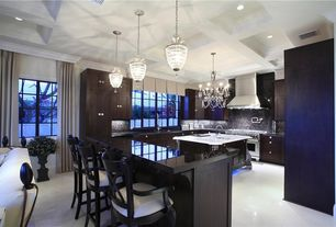 Modern Kitchen with Chandelier, Box ceiling, U-shaped, Kitchen island, Crown molding, Pendant light, Concrete floors, Onyx