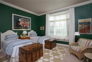 Eclectic Guest Bedroom with William Sheppee Thakat Small Blanket Box, Window seat, Carpet, Bay window