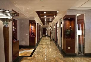 Art Deco Hallway with Standard height, can lights, complex marble floors