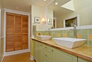 Cottage 3/4 Bathroom with Kingston Brass - Square Vitreous China Vessel Sink, Raised panel, Vessel sink, Frameless