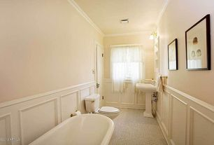 Traditional Full Bathroom with flat door, Standard height, rectangular mirror, Paint 1, Wainscotting, Pedestal sink, Bathtub