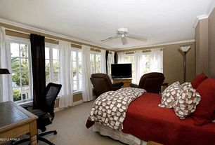 Contemporary Guest Bedroom with Carpet, Ceiling fan, Crown molding