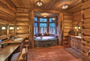 Rustic 3/4 Bathroom with Double vanity, flush light, Hardwood floors, Genesee valley ranch, Wood counters, Log house