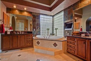 Craftsman Master Bathroom with Complex granite counters, Slate Tile, picture window, Master bathroom, Standard height, Flush