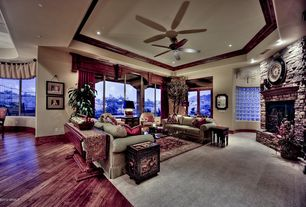 Eclectic Living Room with Stained glass window, Carpet, Crown molding, Hardwood floors, High ceiling, Ceiling fan