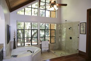 Craftsman Full Bathroom with Chandelier, Standard height, craftmade K10685 5 light 70 inch epic ceiling fan, drop in bathtub