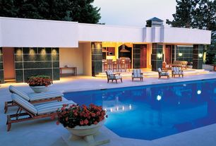 Contemporary Swimming Pool with Outdoor kitchen, exterior tile floors