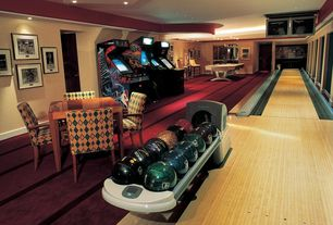 Eclectic Game Room with Billards table, Crown molding, Home bowling alley, Bowling ball return, Arcade games, Hardwood floors
