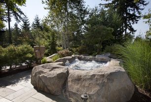 Rustic Hot Tub with exterior tile floors