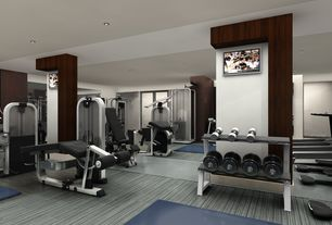 Contemporary Home Gym with Hardwood floors, can lights, Standard height