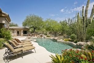 Rustic Swimming Pool with exterior tile floors, Fence, Pool with hot tub, Glass panel door