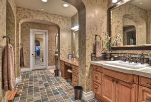 Country Master Bathroom with Slate Tile, Limestone tile counters, Raised panel, interior wallpaper, Master bathroom