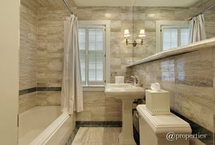 Contemporary Full Bathroom with Pedestal sink, tiled wall showerbath