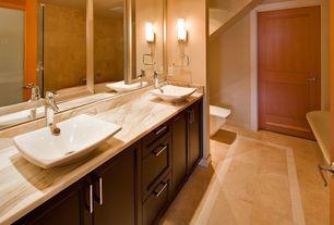Modern 3/4 Bathroom with three quarter bath, partial backsplash, flat door, Wall sconce, Frameless, drop in bathtub, Bathtub