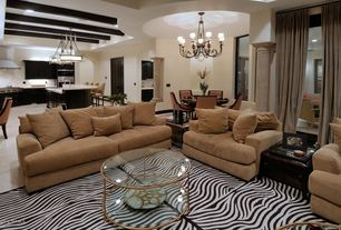 Contemporary Living Room with Standard height, specialty window, simple marble floors, Columns, Carpet, Chandelier