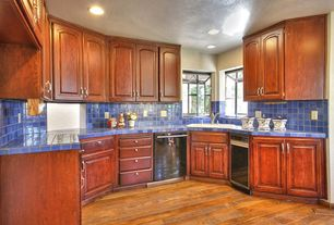 Traditional Kitchen with Raised panel, Large Ceramic Tile, Hardwood floors, One-wall